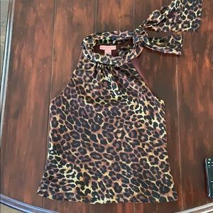 Leopard print blouse with side Pussy bow
